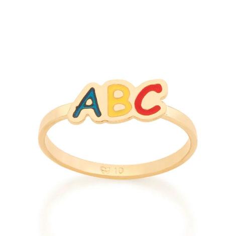 512803 anel infantil letras ABC com resina colorida marca rommanel loja revendedora brilho folheados