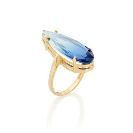 512830 maxi anel dourado cristal gota azul bicolor curacao blue marca rommanel loja revendedora brilho folheados 3