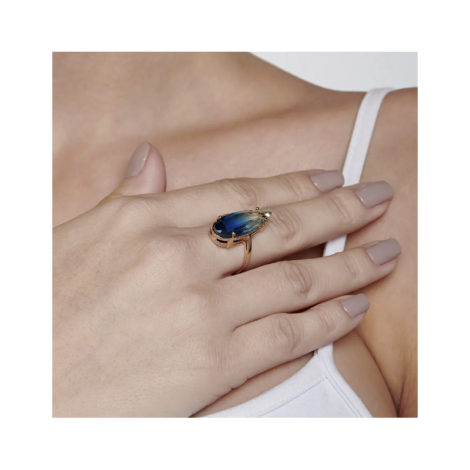 512830 maxi anel dourado cristal gota azul bicolor curacao blue marca rommanel loja revendedora brilho folheados 7