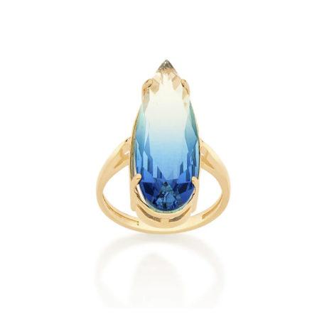 512830 maxi anel dourado cristal gota azul bicolor curacao blue marca rommanel loja revendedora brilho folheados. 1