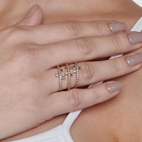 512835 anel espiral dourado cravejado com zirconias brancas e azuis curacao blue marca rommanel loja revendedora brilho folheados 2