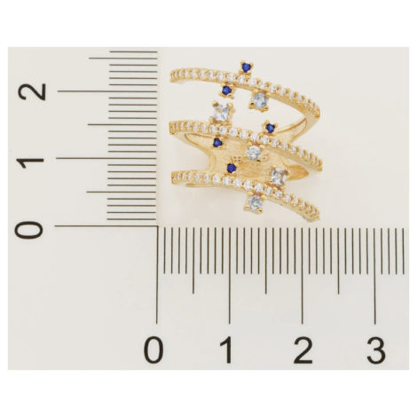 512835 anel espiral dourado cravejado com zirconias brancas e azuis curacao blue marca rommanel loja revendedora brilho folheados 3
