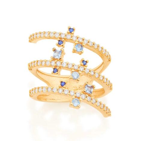 512835 anel espiral dourado cravejado com zirconias brancas e azuis curacao blue marca rommanel loja revendedora brilho folheados
