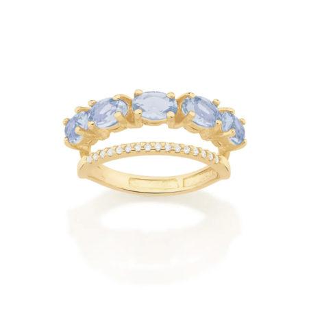 512837 anel dourado duplo aro cravejado com zirconias aro composto de cristais ovais azuis marca rommanel loja revendedora brilho folheados 1