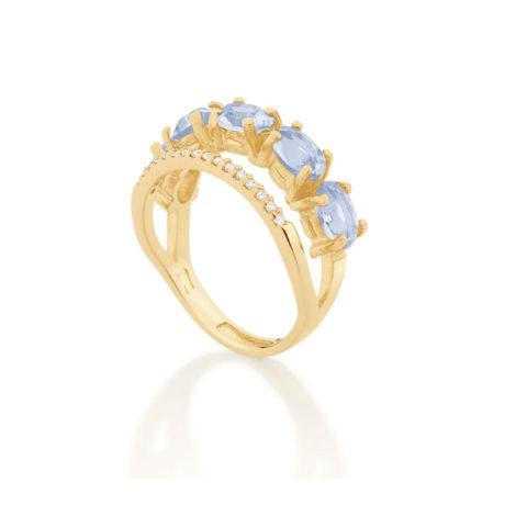 512837 anel dourado duplo aro cravejado com zirconias aro composto de cristais ovais azuis marca rommanel loja revendedora brilho folheados 3