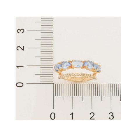 512837 anel dourado duplo aro cravejado com zirconias aro composto de cristais ovais azuis marca rommanel loja revendedora brilho folheados 5