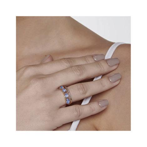 512837 anel dourado duplo aro cravejado com zirconias aro composto de cristais ovais azuis marca rommanel loja revendedora brilho folheados 7