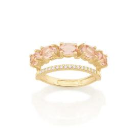 512837 anel dourado duplo aro cravejado com zirconias aro composto de cristais ovais rosa marca rommanel loja revendedora brilho folheados 1