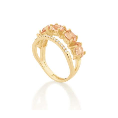 512837 anel dourado duplo aro cravejado com zirconias aro composto de cristais ovais rosa marca rommanel loja revendedora brilho folheados 3