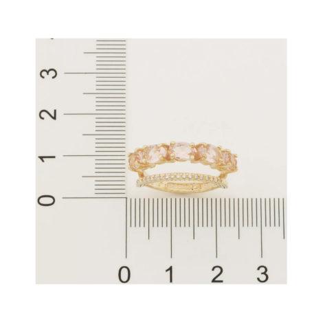 512837 anel dourado duplo aro cravejado com zirconias aro composto de cristais ovais rosa marca rommanel loja revendedora brilho folheados 5