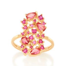 512838 anel dourado com zirconias e cristais rosas curacao blue marca rommanel loja revendedora brilho folheados 4