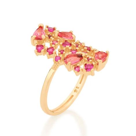512838 anel dourado com zirconias e cristais rosas curacao blue marca rommanel loja revendedora brilho folheados 5