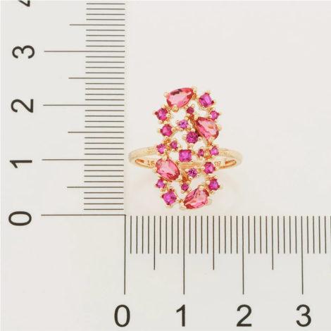 512838 anel dourado com zirconias e cristais rosas curacao blue marca rommanel loja revendedora brilho folheados 6