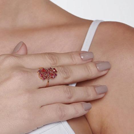 512838 anel dourado com zirconias e cristais rosas curacao blue marca rommanel loja revendedora brilho folheados 7