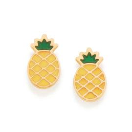 526421 brinco dourado pequeno formato abacaxi aplicacao de resina curacao blue marca rommanel loja revendedora brilho folheados 4