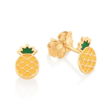 526421 brinco dourado pequeno formato abacaxi aplicacao de resina curacao blue marca rommanel loja revendedora brilho folheados 5