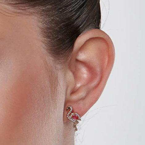 526425 brinco flamingo cravejado com zirconias curacao blue marca rommanel loja revendedora brilho folheados foto modelo 1