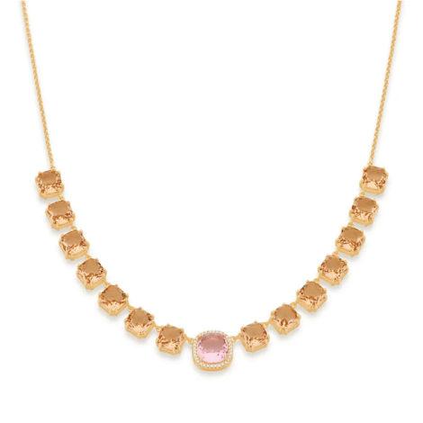 532036 gargantilha elo portugues cristais rosa e rose curacao blue marca rommanel loja revendedora brilho folheados