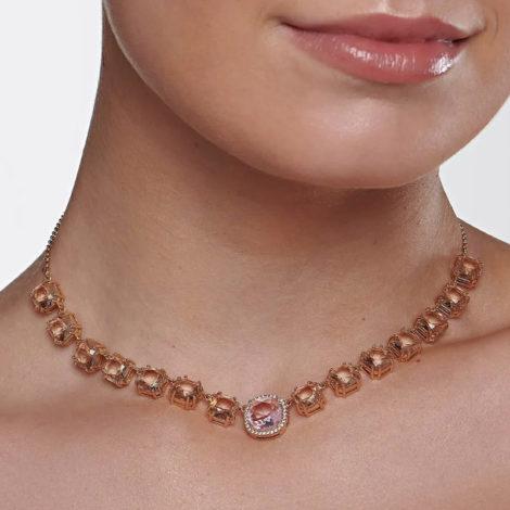 532036 gargantilha elo portugues cristais rosa e rose curacao blue marca rommanel loja revendedora brilho folheados. 1