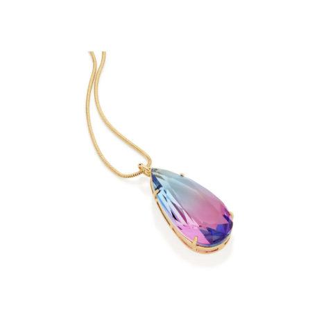 542184 pingente cristal formato gota bicolor azul e rosa colecao curacao loja revendedora brilho folheados 6