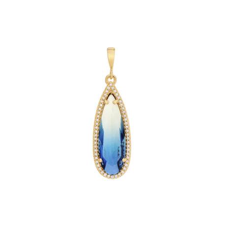 542229 pingente cristal gota azul bicolor com borda cravejada com zirconias curacao blue joia rommanel loja revendedora brilho folheados 1
