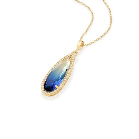 542229 pingente cristal gota azul bicolor com borda cravejada com zirconias curacao blue joia rommanel loja revendedora brilho folheados 3