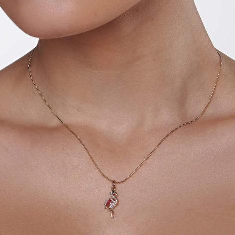 542234 pingente flamingo cravejado com zirconias curacao blue marca rommanel loja revendedora brilho folheados foto modelo 1