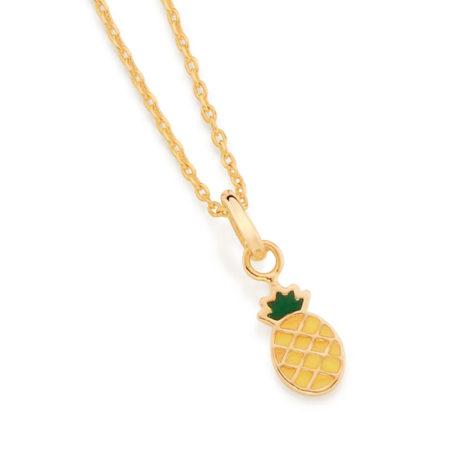 542235 colar pingente dourado formato abacaxi aplicacao de resina colecao curacao blue marca rommanel loja revendedora brilho folheados 1