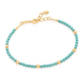 551654 pulseira bolinhas turquesa intercaladas com bolinhas douradas colecao curacao blue marca rommanel loja revendedora brilho folheados 2