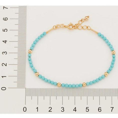 551654 pulseira bolinhas turquesa intercaladas com bolinhas douradas colecao curacao blue marca rommanel loja revendedora brilho folheados 3