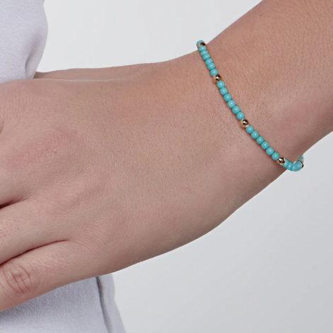 551654 pulseira bolinhas turquesa intercaladas com bolinhas douradas colecao curacao blue marca rommanel loja revendedora brilho folheados foto modelo 1