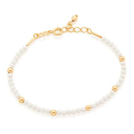 551655 pulseira bolinhas brancas intercaladas com bolinhas douradas colecao curacao blue marca rommanel loja revendedora brilho folheados 2