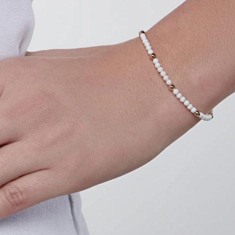 551655 pulseira bolinhas brancas intercaladas com bolinhas douradas colecao curacao blue marca rommanel loja revendedora brilho folheados foto modelo 1