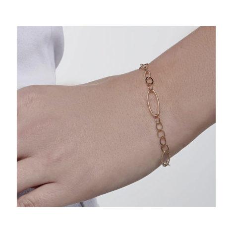 551657 pulseira formada por elos pequenos intercalados por elos grandes marca rommanel loja revendedora brilho folheados foto modelo 1