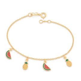 551658 pulseira elos intercalados pingentes de melancia e abacaxi em resina curacao blue marca rommanel loja revendedora brilho folheados 3
