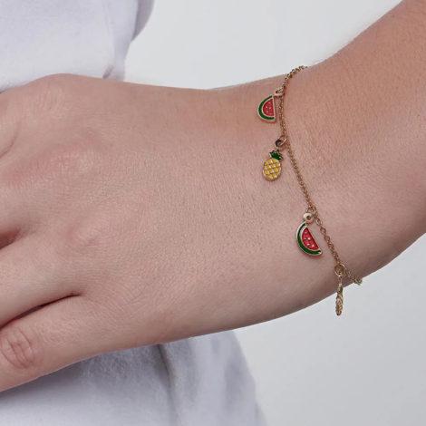 551658 pulseira elos intercalados pingentes de melancia e abacaxi em resina curacao blue marca rommanel loja revendedora brilho folheados 4