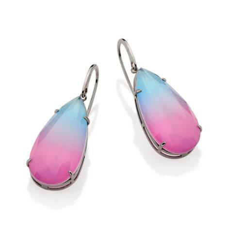 420041 brinco medio cristal gota bicolor rosa azul prateado curacao blue marca rommanel loja revendedora brilho folheados 1