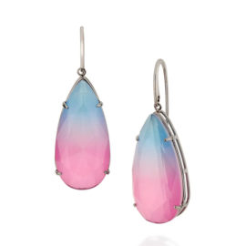 420041 brinco medio cristal gota bicolor rosa azul prateado curacao blue marca rommanel loja revendedora brilho folheados