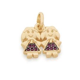 542152 pingente formado por 2 meninas cravejado com zirconas rosa e aplique rodio joia rommanel loja revendedora brilho folheados 1