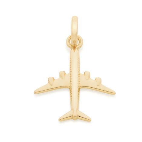542171 pingente formato aviao dourado marca rommanel loja revendedora brilho folheados 1