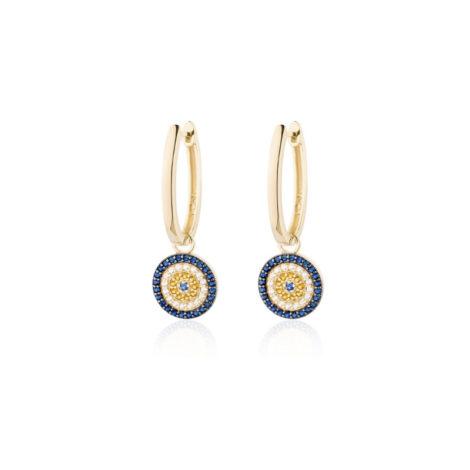 1690404 brinco argola oval media com pingente olho grego cravejado com zirconias coloridas joia folheada sabrina joia loja revendedora brilho folheados 2
