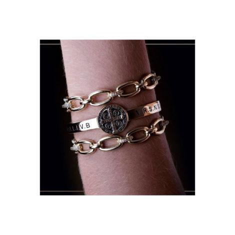 1700480 bracelete elos ajustavel no braco com zirconias joia folheada ouro 18k marca sabrina joias loja revendedora brilho folheados 3