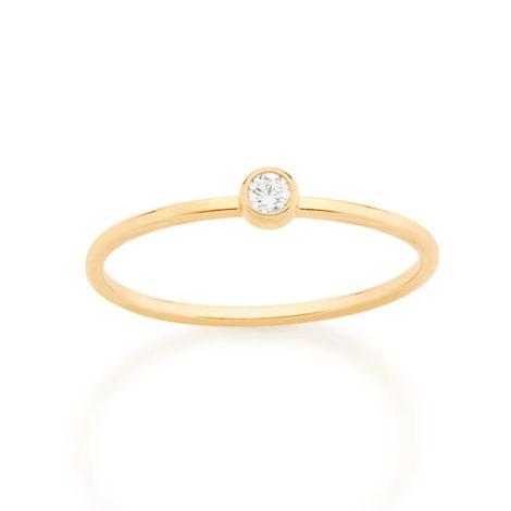 512808 anel fino solitario folheado ouro pedra zirconia branca rommanel loja revendedora brilho folheados