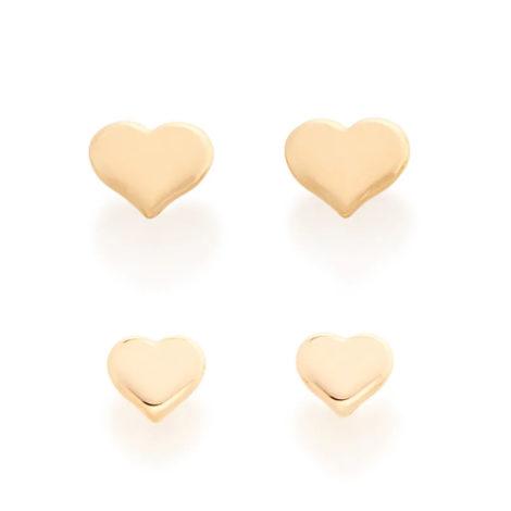 526221 kit brinco primeiro segundo furo formato de coração joia rommanel loja revendedora brilho folheados 3