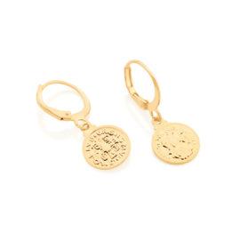 526457 brinco argola com medalha de são bento pendurada joia folheada ouro marca rommanel loja brilho folheados 1