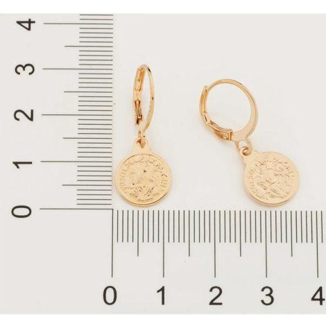 526457 brinco argola com medalha de são bento pendurada joia folheada ouro marca rommanel loja brilho folheados 2