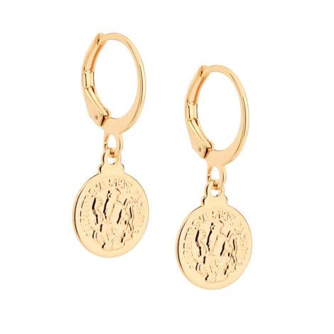 526457 brinco argola com medalha de são bento pendurada joia folheada ouro marca rommanel loja brilho folheados