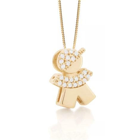 531310 542143 colar pingente filho menino cravejado com zirconias folheado a ouro 18k marca rommanel loja revendedora brilho folheados 1