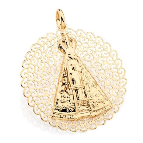 541712 pingente medalha grande nossa senhora aparecida no centro e detalhes rendados e vazados ao redor marca rommanel loja revendedora brilho folheados
