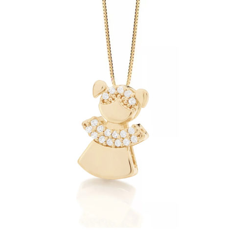 542142 531311 colar pingente filha menina composto por 18 zirconias folheado a ouro 18k marca rommanel loja revendedora brilho folheados